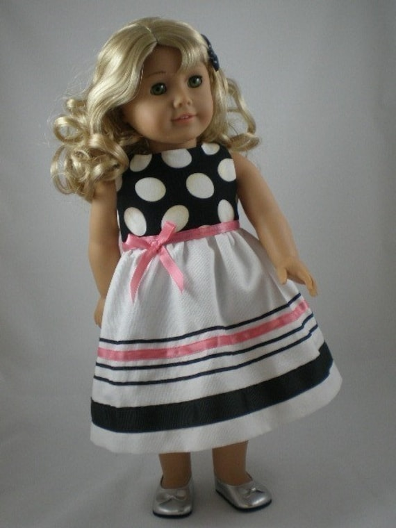 American Girl Doll Dress Black White With Pink Lanie