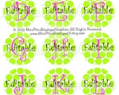 4x6 - EDITABLE PDF -Instant Download - Adorable Lime Dots with Pink Letters - Editable Digital Bottlecap Image Collage - No.702