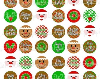 8x10 - SANTA GINGERBREAD MAN - Too Cute - 48 Images - One Inch Bottlecap Graphic Digital Collage Image Sheet no.511