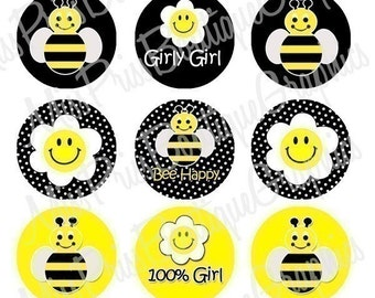 4x6 - Cute Bees and Flowers - One Inch Bottlecap Graphic Digital Collage Image Sheet - No.360