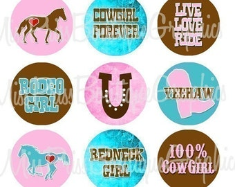 4x6 - RODEO GIRL - Instant Download - One Inch Bottlecap Graphic Digital Image Collage Sheet -  No.447