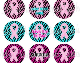4x6 - ZEBRA PINK RIBBON - Instant Download -  Breast Cancer Zebra Sayings - One Inch Bottlecap Digital Graphic Collage Image Sheets - No.516