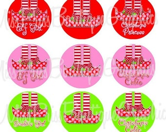 4x6 - ELF FEET CUTIES - Instant Download -   One Inch Bottlecap Digital Collage Images - No.548