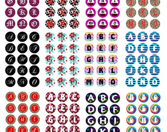 48 Alphabet Graphic Sheets - 720 Bottlecap Images Graphics on CD Alphabets - Sale Sale Sale - 25.00 only FOUR at this Price