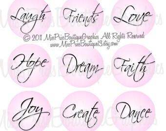 4x6 - INSPIRATIONAL WORDS - Instant Download -  Light Pink Elegant Words- One Inch Bottlecap Digital Collage Images- No.612