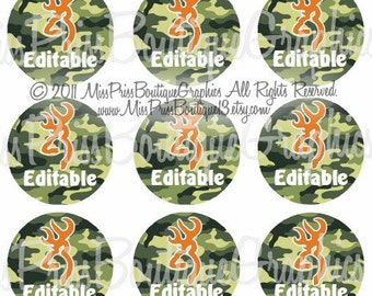 4X6 - EDITABLE PDF - Instant Download - Browning Inspired Green  -Boys or Girls - Editable Bottlecap Digital Collage Image - No 635