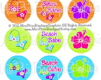 4x6 - SUMMER BIKINIS - Instant Download - Adorable Summer Bikinis Striped Cuties  -  One Inch Bottlecap Digital Collage Images- No.664