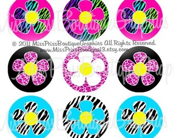 4x6 - ANIMAL PRINT DAISIES - Instant Download - Animal Print Flowers Designs -  One Inch Bottlecap Graphic Digital Image Collage - No.699
