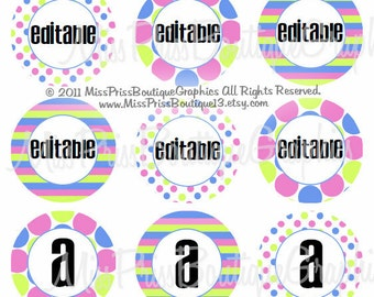 4X6 - EDITABLE PDF - Instant Download - Pink Lime and Blue designs - 3 Different Designs - Editable Bottlecap Digital Collage Image No. 737