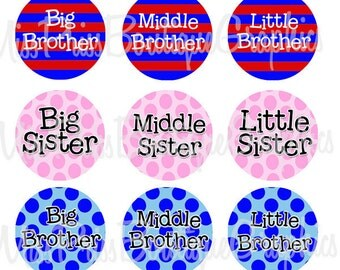 4x6 - SISTERS AND BROTHERS - Instant Download - Stripes Dots sayings  -  One Inch Bottlecap Graphic Digital Image Collage - No.513