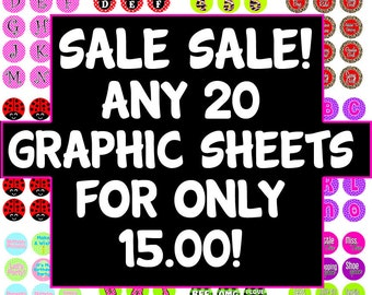SALE SALE -- 20 Graphic Sheets for 15 dollars -  .75 Cents a  Sheet -- Includes All Editable PDF's and Graphic Sheets