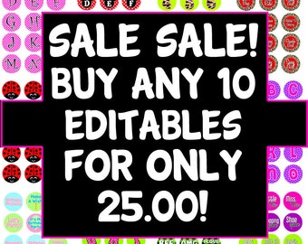 Sale Sale Sale - Buy Any 10 EDITABLE PDF's for ONLY 25.00 - That's 2.50 a Editable Pdf