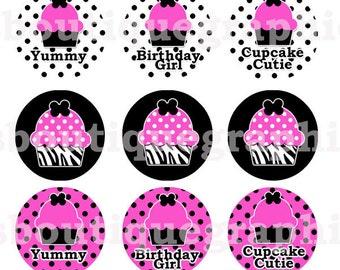 4x6  - ZEBRA CUPCAKES - Instant Download - Hot Pink Black Zebra Cupcakes Sayings - One Inch Bottlecap Digital Collage Image Sheet - No.272