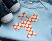 Long Sleeves // Size 6-12 months // Sky Blue Bodysuit with a Red Polka Dot Airplane Applique // Clothes for Baby Boy