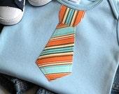 Short Sleeve Sky Blue Baby Bodysuit - size 3-6 months -  Necktie Applique - orange and blue - Unique Baby Boy Clothes