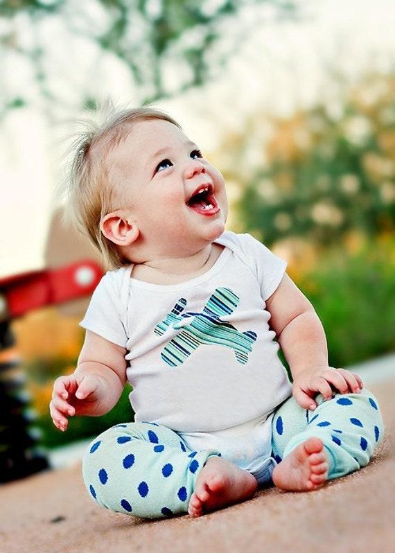 Size 0-3 months - Blue Airplane Applique Bodysuit - Stripes - Baby Boy Clothes - Newborn