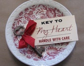 Key to My Heart, Vintage Skeleton Key with Tag
