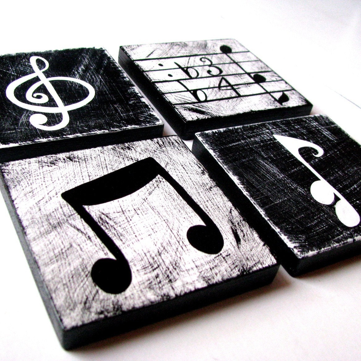 Bedroom Wall Decor Black And White : Music inspired black and white wall art by whimsicalartblocks