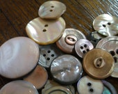 Smokey Grey and Brown Pearl Buttons..Grouping of 27..Vintage