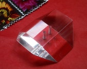Vintage Lucite Button -  Huge Faceted Block