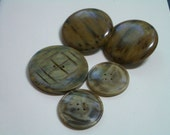 5 Vintage Buttons   LG Earthy Browns -  Mottled