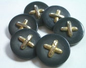 X Marks the Spot  -  6 Vintage Buttons  -