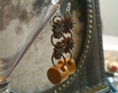 Bakelite Button  Earrings  -  Sunflower and  Brown