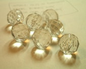 7 Vintage Clear Glass Ball Buttons - Faceted