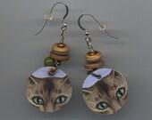 Green Cat Eyes - Dangle Earrings -  Recycled  Discs