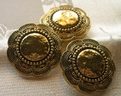 Stylised Gold Flower  -  Large Metalized Plastic  - 3 VINTAGE BUTTONS