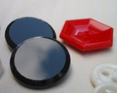 GLASS BUTTONS  Vintage Red, Black, and Clambroth Buttons