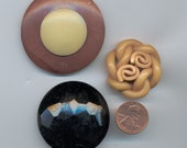 3 very LARGE CELLULOID BUTTONS.. GREAT CLOSURES
