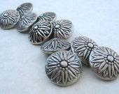 10 Sm Silver Sunflower Buttons  PRETTY VINTAGE