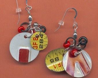 Dangle Earrings -   Frolicking Fun -  Recycled  Discs