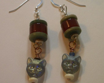 Cat Beads - Carnelian and Greenstone Earrings -  -UpCycled Buttons and Beads