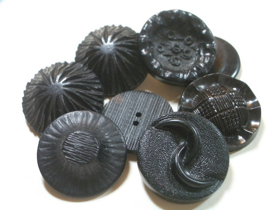 8 Vintage Black Coat Buttons -  Organic Textured