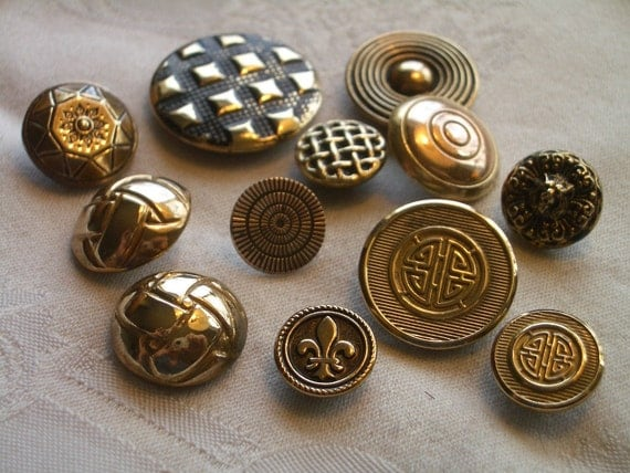 Vintage Brass Buttons - 12 - Texture and Design Interest