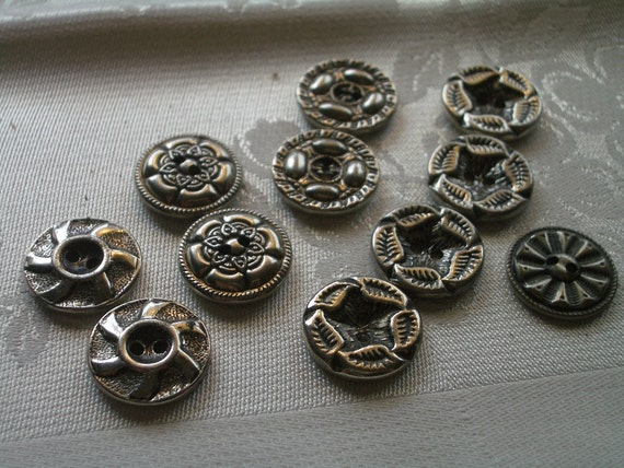 Vintage Silver Metal Buttons -  11  with Texture and Design  - Sew Thrus