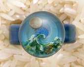 EMBLEM Size 8.75 Lampworked Borosilicate Glass Wave Ring
