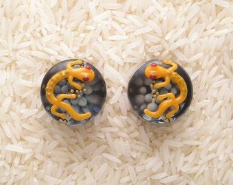 19mm DF Lampworked Borosilicate Glass Gecko Plugs