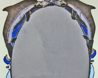 Swim With Dolphins - Beautiful Oval Stained Glass Mirror - OOAK