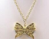 Vintage Gold Bow Tie Necklace