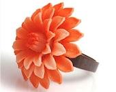 Vintage Orange Dahlia Ring