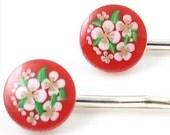 Vintage Red Floral Hair Pins