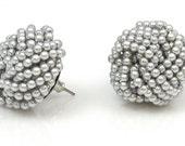 Beaded Grey Knot Earrings