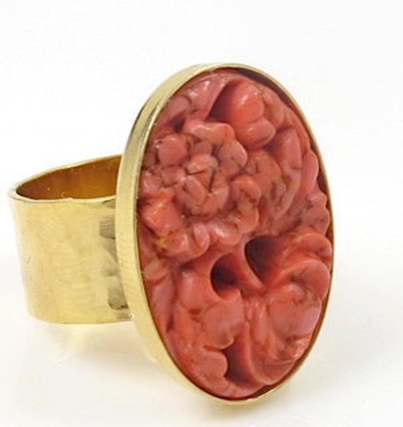 Coral Carved Cameo Gold Ring
