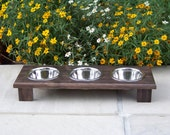 "Custom Stained 3-Bowl Elevated Cat Feeder 3"" Tall with 1-Pint Bowls"