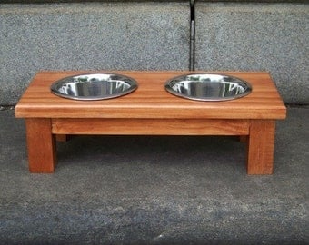 "Custom Stained Elevated Dog Bowl Feeder 4.5"" Tall with 1-Pint Bowls"