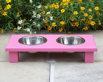 "Custom Painted Elevated Pet Bowl Feeder 3"" Tall with 1-Pint Bowls"