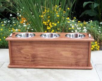 "Storage Dog Bowl Feeder (Custom Finished) 12"" Tall 3-Bowl with 2-Quart Bowls"